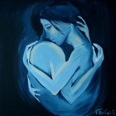 """Sguardi """"L'amore ritrovat"""" acrilico su tela, 90x90 cm"""